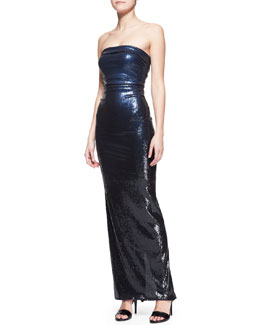 Donna Karan Strapless Sequin Column Gown