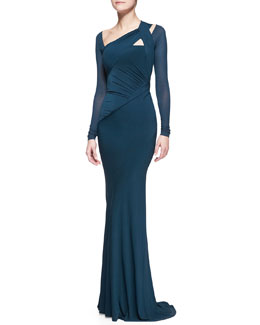 Donna Karan Floor-Length Draped Gown, Teal