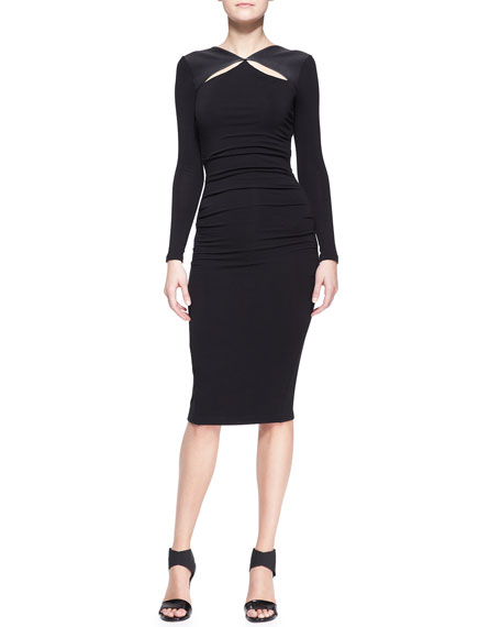 Long-Sleeve Leather-Trim Cool Jersey Slash Dress