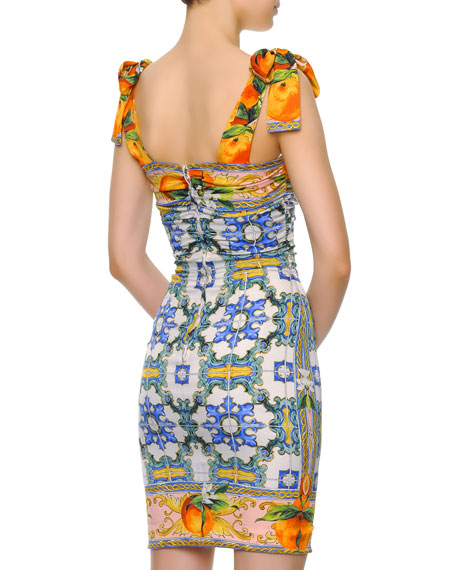 Bow-Shoulder Tile-Print Dress