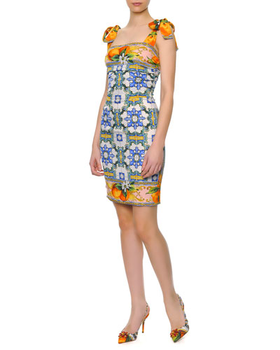 Dolce & Gabbana Bow-Shoulder Tile-Print Dress
