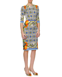 Dolce & Gabbana Tile-Print Fitted Silk Dress