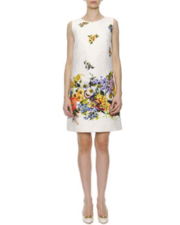 Dolce & Gabbana Engineered Floral-Print A-Line Shift Dress, White/Multi