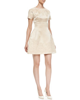 Dolce & Gabbana Short-Sleeve Embellished Satin Dress