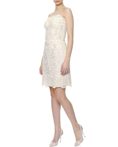 Dolce & Gabbana Strapless Macrame Lace Cocktail Dress, Ecru