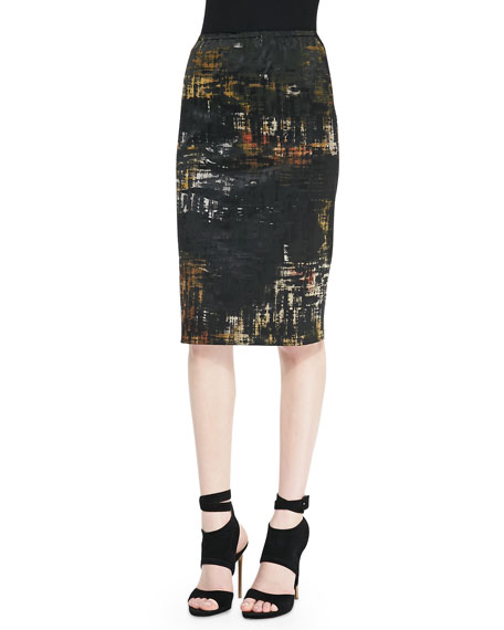 Abstract Painted Print Tube Skirt