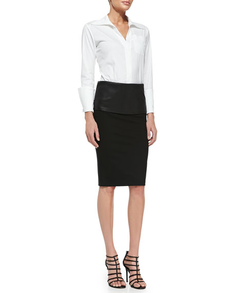 Structured Pencil Skirt with Leather Band