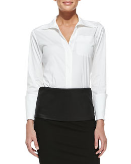 Donna Karan Tailored Menswear Shirt with Long Cuffs