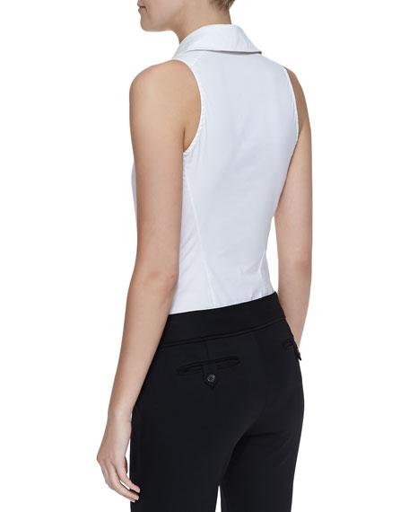 081afa9f60cb Donna Karan Sleeveless Collared Poplin Bodysuit