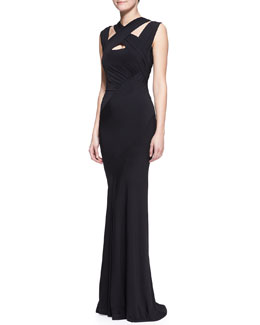 Donna Karan Cross-Neck Jersey Gown