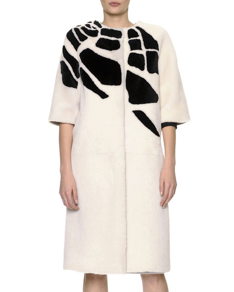 3/4-Sleeve Jewel-Neck Croc-Intarsia Shearling Coat
