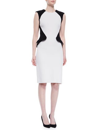 Controured Colorblock Crepe Dress, Gray/Black