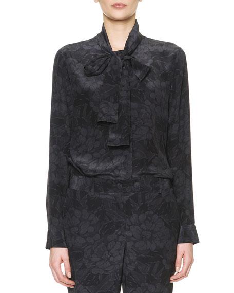 Long-Sleeve Chrysanthemum-Print Silk Blouse, Black/Gray