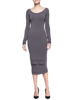 Donna Karan Long-Sleeve Layered-Hem Dress, Slate