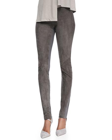 Slim Suede and Denim Pants