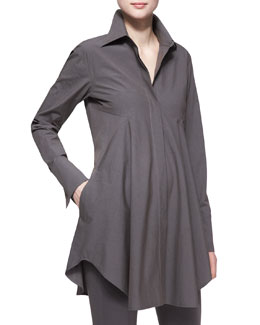 Donna Karan Easy Stretch Poplin Shirt Tunic, Slate