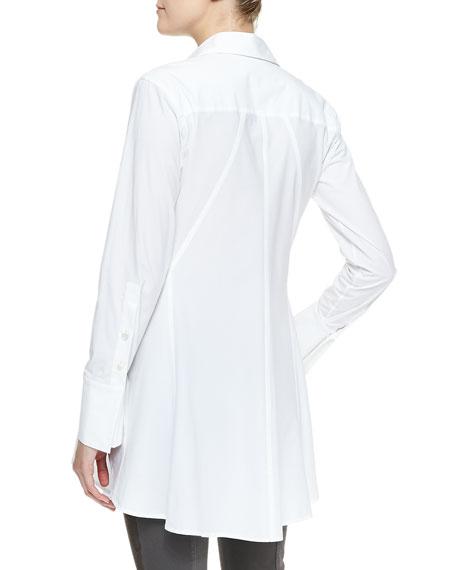 Easy Stretch Poplin Shirt Tunic, White