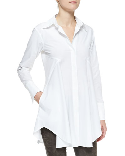 Donna Karan Easy Stretch Poplin Shirt Tunic, White