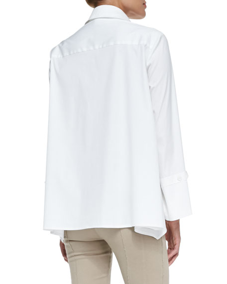 Long-Sleeve Button-Up Cotton Shirt, White
