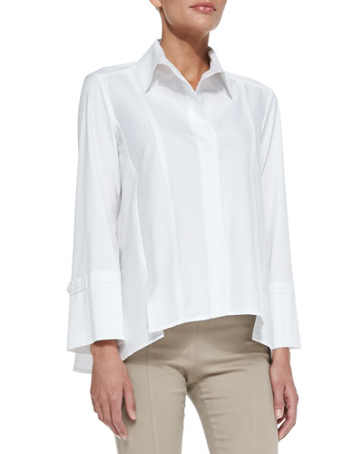 Donna Karan Long-Sleeve Button-Up Cotton Shirt, White