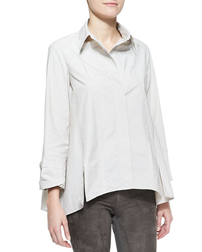Donna Karan Long-Sleeve Button-Up Cotton Shirt, Dust