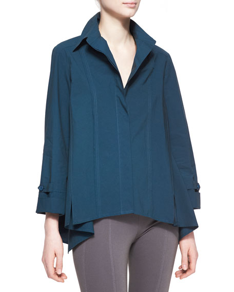 Long-Sleeve Roll-Sleeve Button-Up Cotton Shirt, Teal