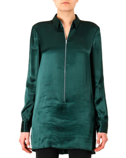 Acne Studios Satin Zip-Front Tunic Blouse