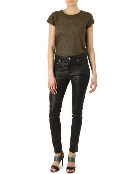Five-Pocket Leather Skinny Pants