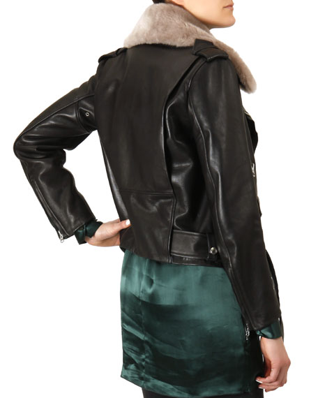 Shearling-Collar Moto Jacket