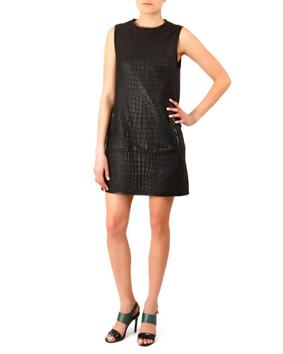 Acne Studios Crocodile-Embossed Leather Dress