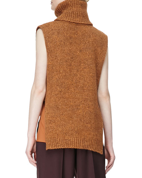 Sleeveless High-Low Turtleneck Sweater, Orange