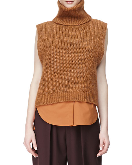 Sleeveless High-Low Turtleneck Sweater, Orange