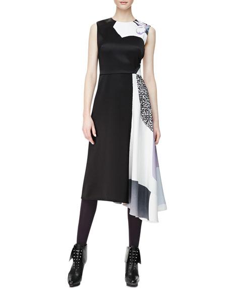 Sleeveless Shadow Asymmetric-Hem Dress, Purple