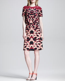 Thakoon Printed Pintuck-Back Dress