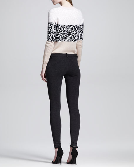 Seamed Slim-Leg Melange Pants