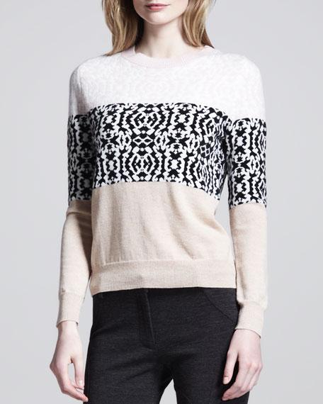 Multi-Print Striped Pullover