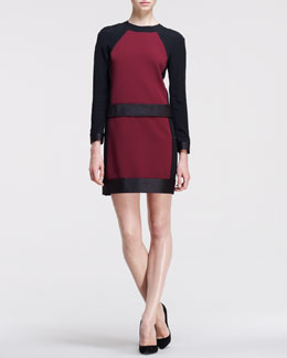 Victoria by Victoria Beckham Long-Sleeve Bonded Frame Dress