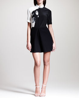 Victoria by Victoria Beckham Girl-Print Combo Shirtdress