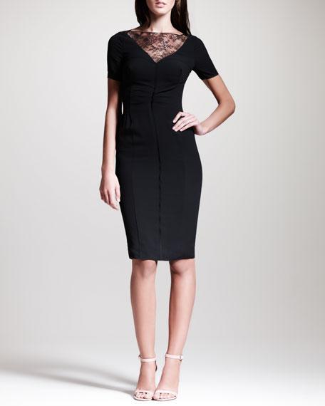 Lace-Trimmed Crepe Sheath Dress, Black