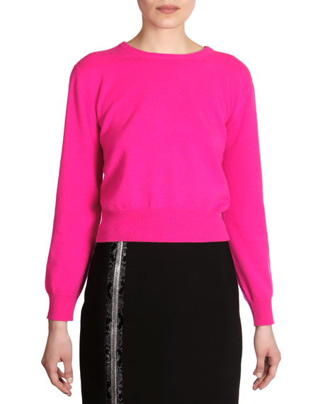 Cashmere Crewneck Sweater, Fuchsia