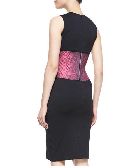 Snakeskin-Print Sleeveless Dress