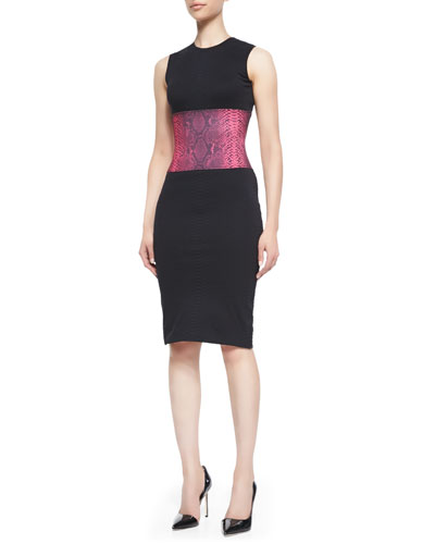 Christopher Kane Snakeskin-Print Sleeveless Dress