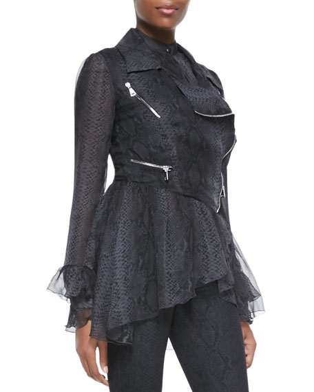 Snakeskin-Print Abstract Frill Biker Jacket