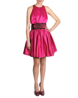 Christopher Kane Satin Sleeveless Cinch-Waist Dress