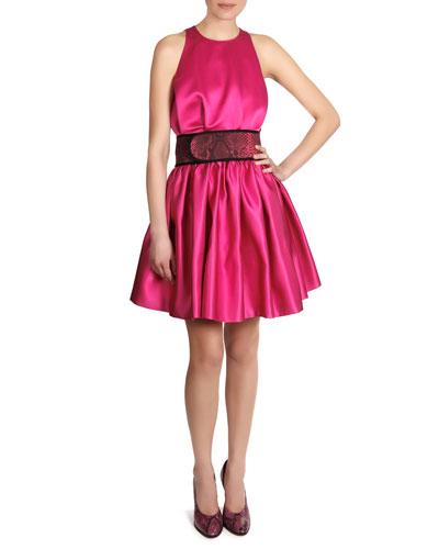 Christopher Kane Satin Sleeveless Cinch-Waist Dress