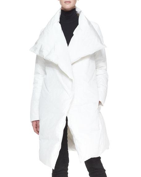 Down Puffer Clutch Coat, White