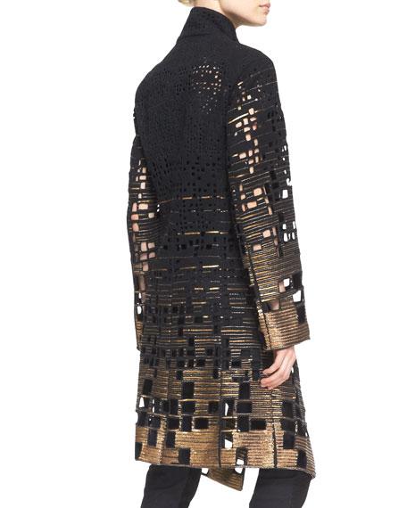 Belted Embroidered Coat, Black/Gold