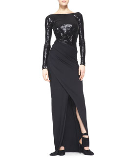Donna Karan Floor-Length Long-Sleeve Gown with Sequins, Black