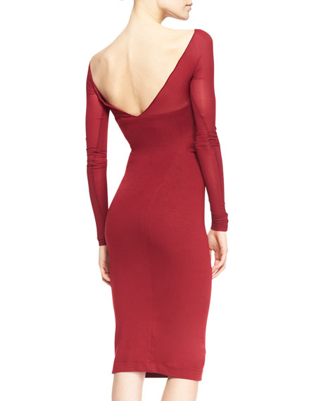 Long-Sleeve Low-Back Sheath Dress, Ruby Red