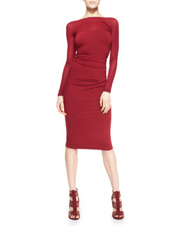 Donna Karan Long-Sleeve Low-Back Sheath Dress, Ruby Red